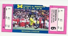 1990 Michigan vs Minnesota original FULL college football ticket stub