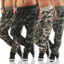 Damen Hose Sweatpants Camouflage Military Print Jogginghose Haremshose S M L