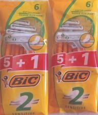 10 + 2 Gratis = 12 Paquete de 2 para hombres Afeitar Maquinilla de afeitar desechable Bic Twin 2 Blade sensible