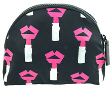 Lulu Guinness Tape Lipstick Make Up Bag Travel Pouch Cosmetic Case Black Lips