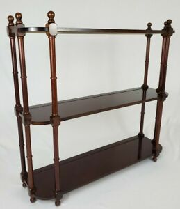 Vintage Bombay Company Wall Mount Wood Shelf 3 Tier Plate Rack Chippendale 1989