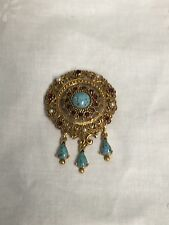 VINTAGE FLORENZA BEAUTIFUL BROOCH WITH TURQUOISE, RUBY RHINESTONES SIGNED!!!