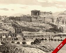 VIEW OF ACROPOLIS GREEK RUINS GREECE INK & CHALK PAINTING ART REAL CANVAS PRINT