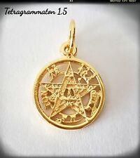 Tetragrammaton silver plata chapado oro pentagram pagan 1,5cm wiccan Pendant