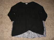 New No Tags Jane and Delancey Blk/Wh Knot Front Tunic Top Wmns Sz 1X