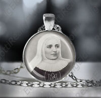 St. Laura Catholic Necklace Christian Medal Black and White Pendant Patron Saint