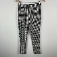 Yoins Womens Pants 12/14 Slim Black White Houndstooth Straight Elastic Waist