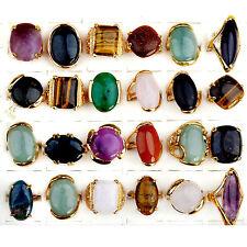 Nice Wholesale Jewerly Lots 5pcs Vintage Gold Natural Stone Women Ring Bulk