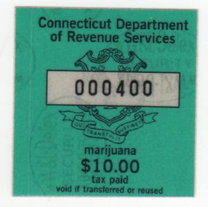 Connecticut $10.00 marijuana stamp.