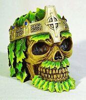 4 Inch Resin Greenman Swamp King Color Skull Desktop Figurine