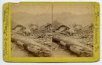 Long Man in destroyed Johnstown PA Flood Disaster Vintage Stereoview Photo