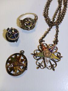 Antique Ladies Masonic Eastern Star Jewelry set Necklace, 10k Ring, Pendant, Pin