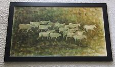 HUGE SOFA SIZE 1960'S PAINTING ABSTRACT RUNNING BULLS MID CENTURY MODERNISM VNTG