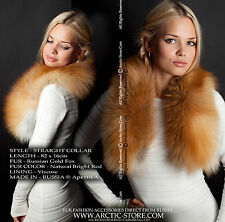 Classic women's fur collar 80cm+ - Russian Gold fox / Made in Russia