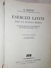ESERCIZI LATINI Volume Primo D Bertini Mariani 1954 libro classici latino corso