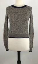 Theory Crop Sweater Size Petite Beige Navy Blue Heather Cotton Cashmere Mohair
