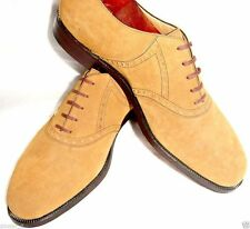 $595 N Gabrielli Hand Made in Italy light/camel brown suede US 8½-9M, UK8½, EU42