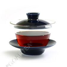 Vidro Transparente Azul 130ml Porcelana resistente ao calor Kung Fu Gaiwan Pires & Xícara De Chá