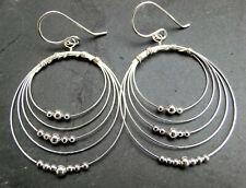 große Silberdraht Ohrringe mit Kügelchen Ø 35 mm 925 Sterling Silber Ohrhänger
