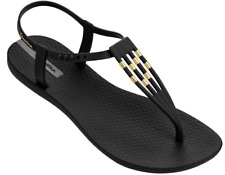 Ipanema Women`s Flip Flops Sunray Sandal Black and Gold Brazilian Sandals NWT