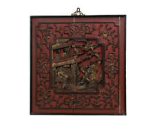 China 19. Jh Antique Chinese Red Painted & Carved Wood Table/Relief
