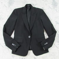 $395 Theory Womens Black stretch Wool Bld 1 Button fitted career Blazer Jacket 0