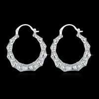 Wholesale 925 Sterling Silver Filled High Polished Hoop Bamboo Festival Earrings