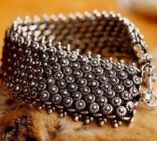2,5 cm Breit Verspielt Floral Silberarmband 19,5 cm Kette Armband Silber Blume