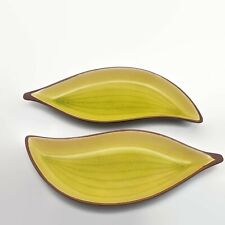 2 Torre & Tagus Green & Brown Petal Shaped Dishes