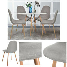 4X Retro Fabric Dining Chairs Padded Seat Wooden Leg Modern Lounge Chair Grey UK