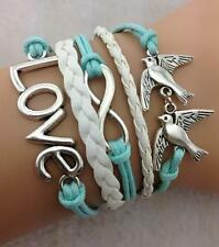 Stunning Infinity Bracelet Infinite Knot Leather Braided Birds Dove Vintage Love