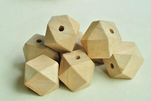 15pcs 20mm Unfinished Natural Wood Bead 14 Hedron Geometric Figure Solid Faceted