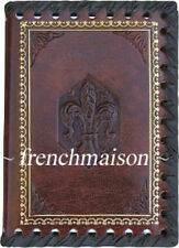 Italian-made Small NOTEBOOK Handmade LEATHER STAMPED Brown FLEUR DE LYS Florence