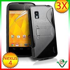 PELLICOLA+Custodia WAVE con stand per LG Google Nexus 4 E960 SOFT NERO +trasp