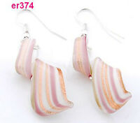 1 Fashion Lampwork Art Glass twist Beaded Earring dangle er374