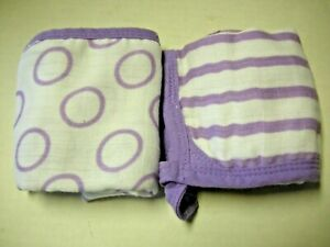Muslin Washcloths By Aden + Anais, 2 Pieces, Purple & White, Brand New