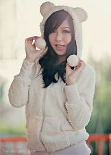 Asian Korean Fashion Style Cute Teddy Bear Ear Hoodie Jacket Coat White
