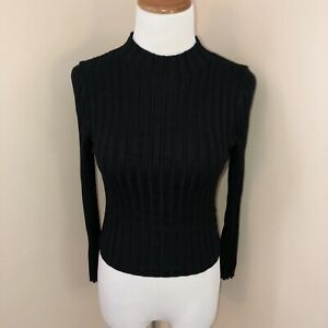 Forever 21 Rib Knit Cropped Sweater Knit Top Size Medium Black Women's Mock Neck