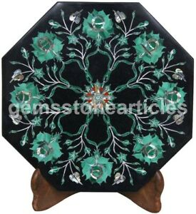 "12""x12"" Marble Black Wall Tile Malachite Inlay Floral Fine Art Hallway Décor Art"