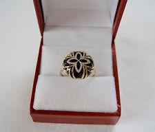 VIDA- Onyx (14 mm) & Diamond 'Star'  14k Yellow Gold Ring