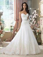 New White/Ivory Mermaid Bridal Gown Wedding Dress Custom Size 6 8 10 12 14 16+