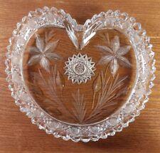American Brilliant Cut Heart Shaped Dish/Tray Star Flower, Sawtooth