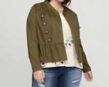 Sejour Womens Plus Size 18w Olive Green Military Peplum Light Demim Jacket New
