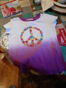 American Girl Beforever White Shirt with Peace Petals Girls S(7/8) New with tags