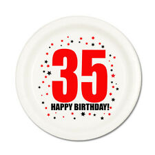 35th BIRTHDAY DESSERT PLATES 8/pk Small Lunch Plate Birthday Party Supplies T157
