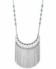 Lucky Brand Silver Tone Openwork Stone and Fringe Statement Necklace $59 NEW