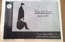 TEARS FOR FEARS Mad World 1982 UK Press ADVERT 12x8 inches