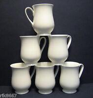 Set Of 6 White Belly Shape Fine Bone China Mug cups Beakers