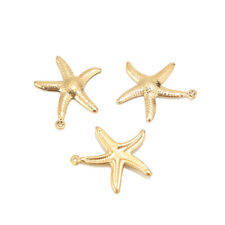 20pcs Gold Plated Stainless Steel Seastar Fish Charm Pendents for DIY Jewelry