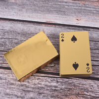 1x waterproof gold plated porker PVC plastic playing cards for table games A_ex